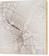 Winnipeg Street Map Colorful Copper Modern Minimalist Wood Print