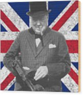 Winston Churchill And Flag Wood Print