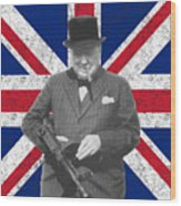 Winston Churchill And His Flag Wood Print