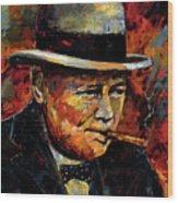 Winston Churchill Portrait Wood Print