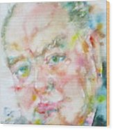 Winston Churchill - Watercolor Portrait.4 Wood Print