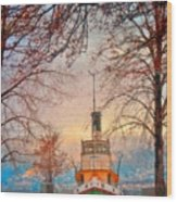 Winter And The Tug Boat Wood Print
