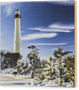 Winter At Cape May Light Wood Print