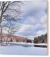 Winter At The Dam Wood Print
