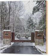 Winter At The Gate Wood Print