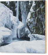 Winter At Virgin Creek Falls Wood Print