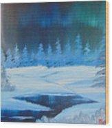 Winter Aurora Wood Print