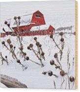 Winter Barn 2 Wood Print