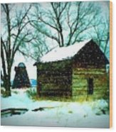 Winter Barn And Silo Wood Print
