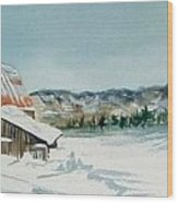 Winter Barn Wood Print by Diane Ziemski