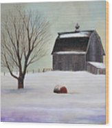Winter Barn II Wood Print