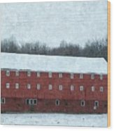 Winter Barn In Oil Wood Print