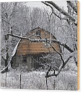 Winter Barn Iv Wood Print