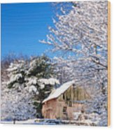 Winter Barn Scene-warren Ct Wood Print by Thomas Schoeller