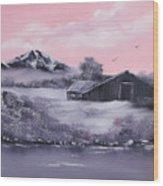 Winter Barns Wood Print by Cynthia Adams