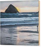 Winter Beach Stroll Wood Print