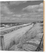 Winter Beach View - Black And White Wood Print