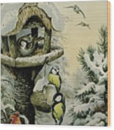 Winter Bird Table With Blue Tits Wood Print