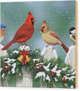Winter Birds And Christmas Garland Wood Print