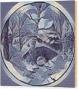 Winter Bridge In Blue Wood Print