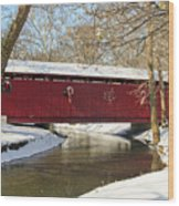 Winter Bridge  Wood Print