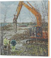 Winter Building Site Breaker Wood Print