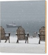 Winter By The Sea Wood Print