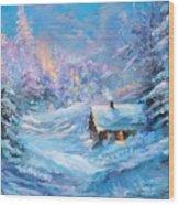 Winter Cabin Wood Print