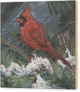 Winter Cardinal Wood Print by Nadine Rippelmeyer