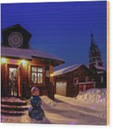 Winter Christmas Evening Lights Wood Print