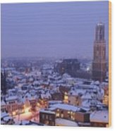 Winter Cityscape Of Utrecht In The Evening 14 Wood Print