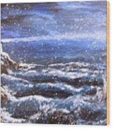 Winter Coastal Storm Wood Print
