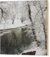 Winter Contemplation Watercolor Painting Wood Print