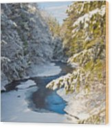 Winter Creek In Morning Light Wood Print