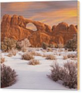 Winter Dawn At Arches National Park Wood Print by Utah Images