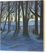Winter Day's End Wood Print