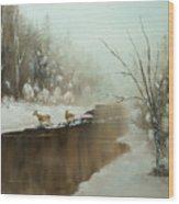 Winter Deer Run Wood Print