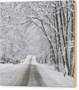 Winter Drive On Highway A Wood Print