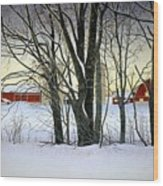 Winter Evening On The Farm Wood Print