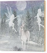Winter Fairy Magic Wood Print