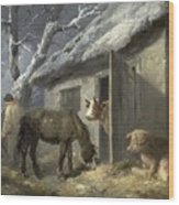 Winter Farmyard Wood Print