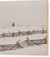 Winter Fence In Oregon Wood Print