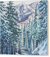 Winter Forest And Mountains Wood Print