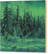 Winter Forest Dream At Dusk Wood Print