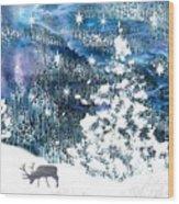 Winter Forest Scene Wood Print