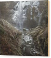 Winter Freeze At Multnomah Falls Wood Print