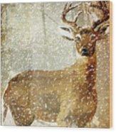 Winter Game Deer Wood Print