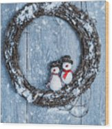 Winter Garland Wood Print