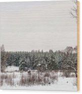 Winter Glade Under Snow. Wood Print