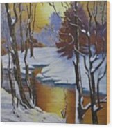 Winter Gold Wood Print